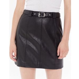 UO Franny Belted Faux Leather Mini Skirt